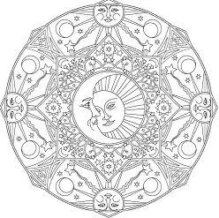 Creative Haven Celestial Mandalas Coloring Page