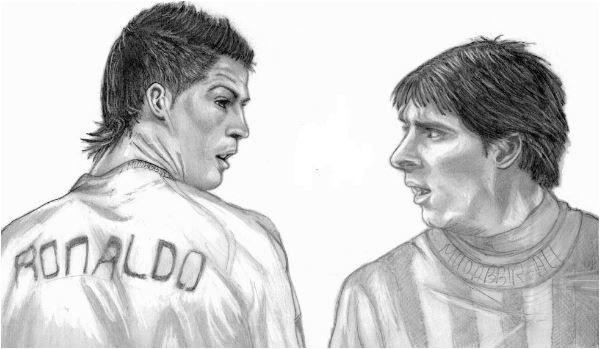 Cristiano Ronaldo & Lionel Messi Coloring Page