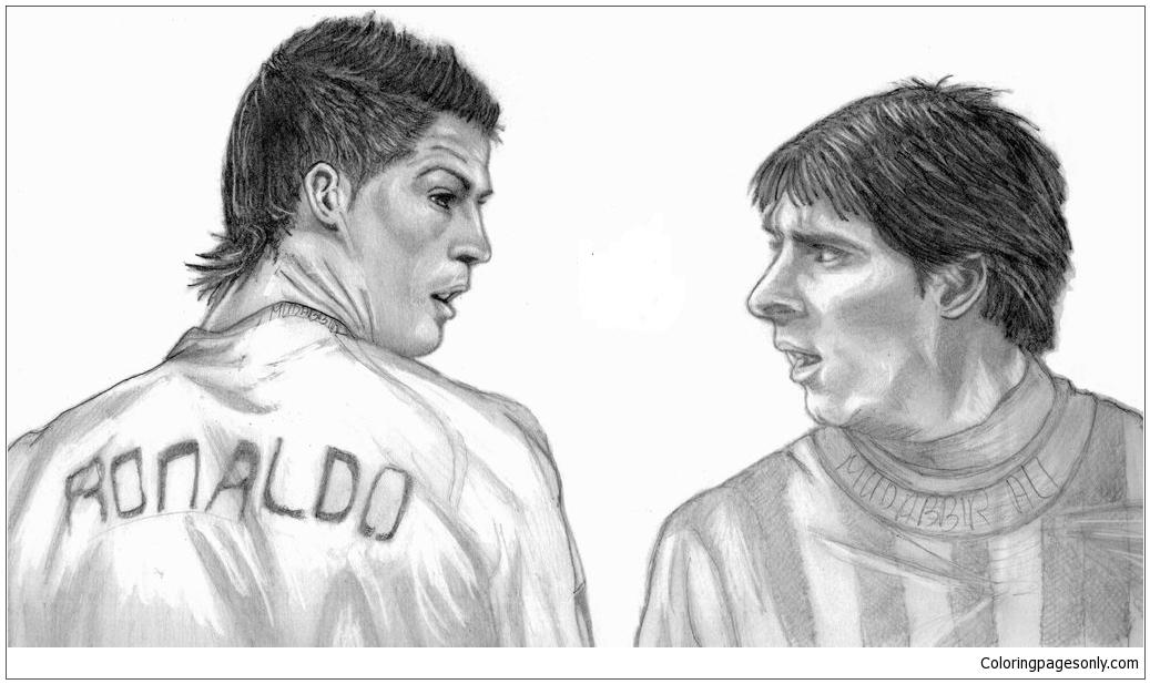 Cristiano Ronaldo Amp Lionel Messi Coloring Page Free
