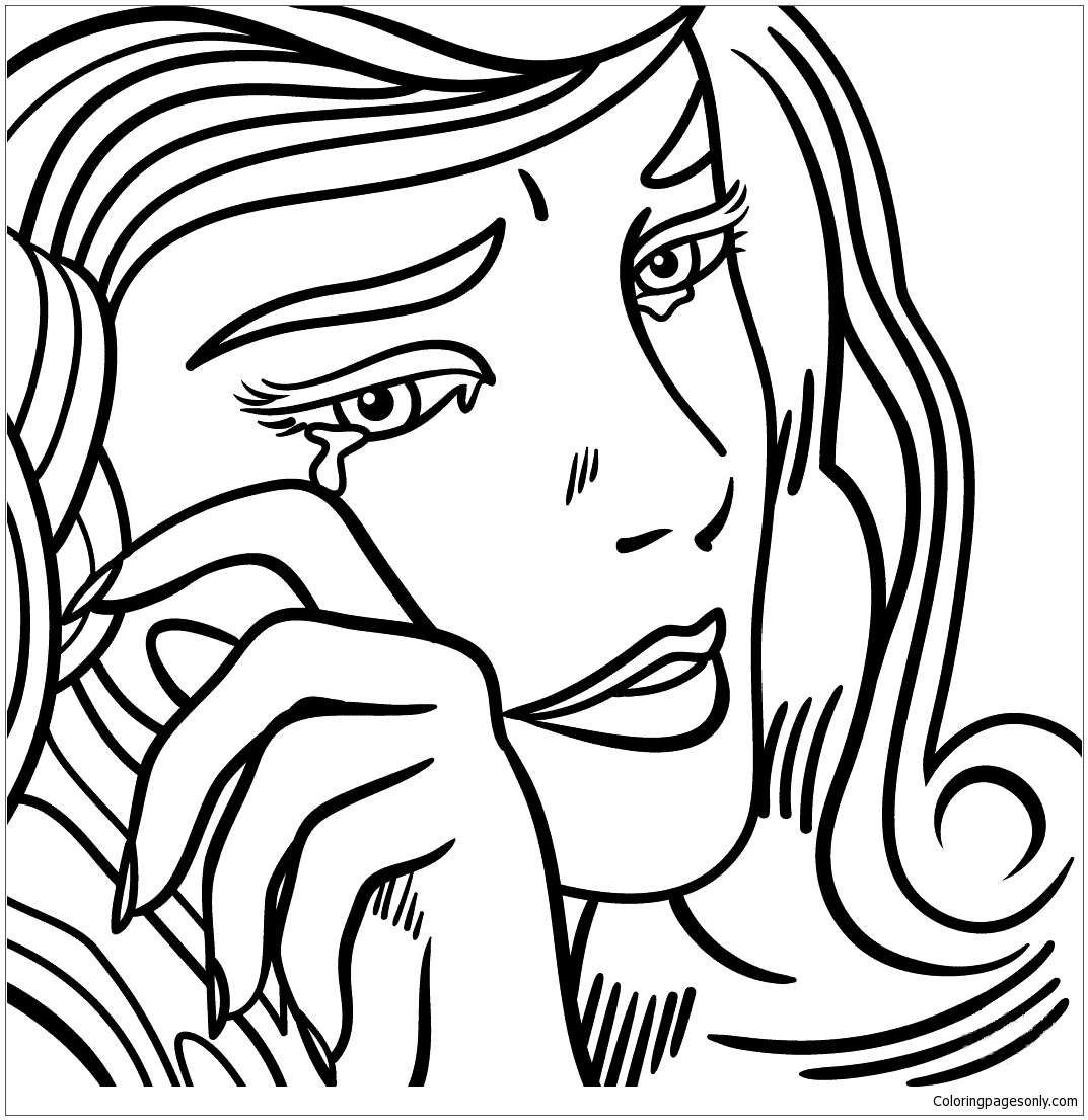 Crying Girl By Roy Lichtenstein Coloring Page