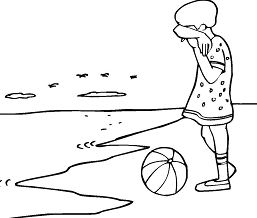 Crying Girl On The Beach Coloring Page