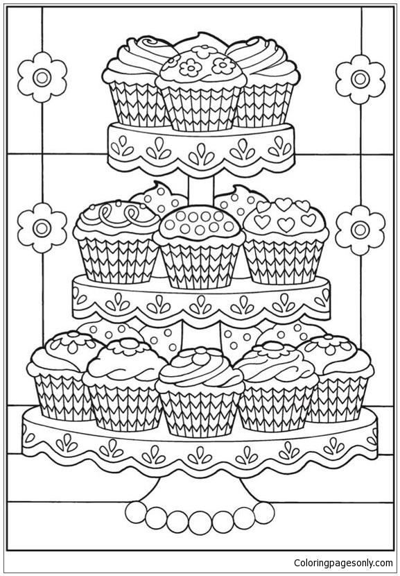 Cup Cakes Coloring Pages