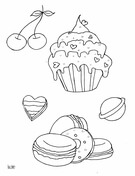 Cupcake and Muffins Coloring Page