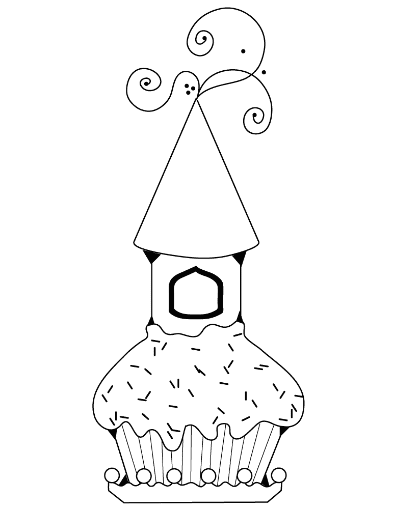 cupcake with castle coloring page  free coloring pages online