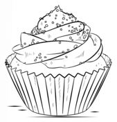 A Cupcake Coloring Page