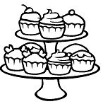 Cupcakes For Party Coloring Page