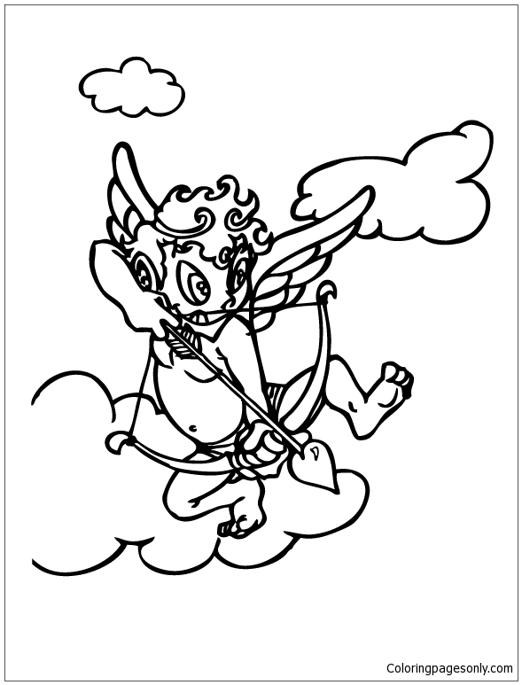 Cupid Throws The Arrow Coloring Page Free Coloring Pages