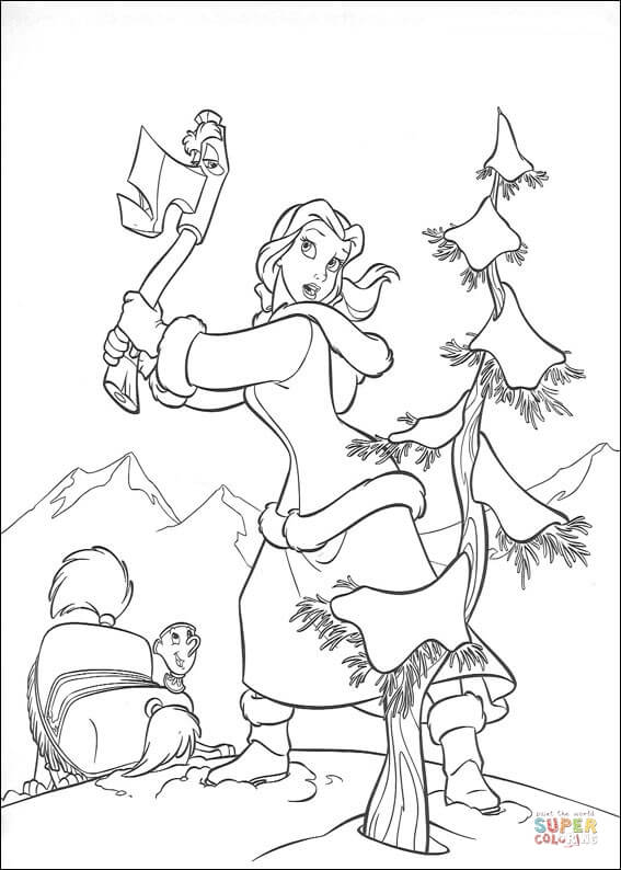 Princess Belle Cuts A Tree From Beauty And The Beast Coloring Page
