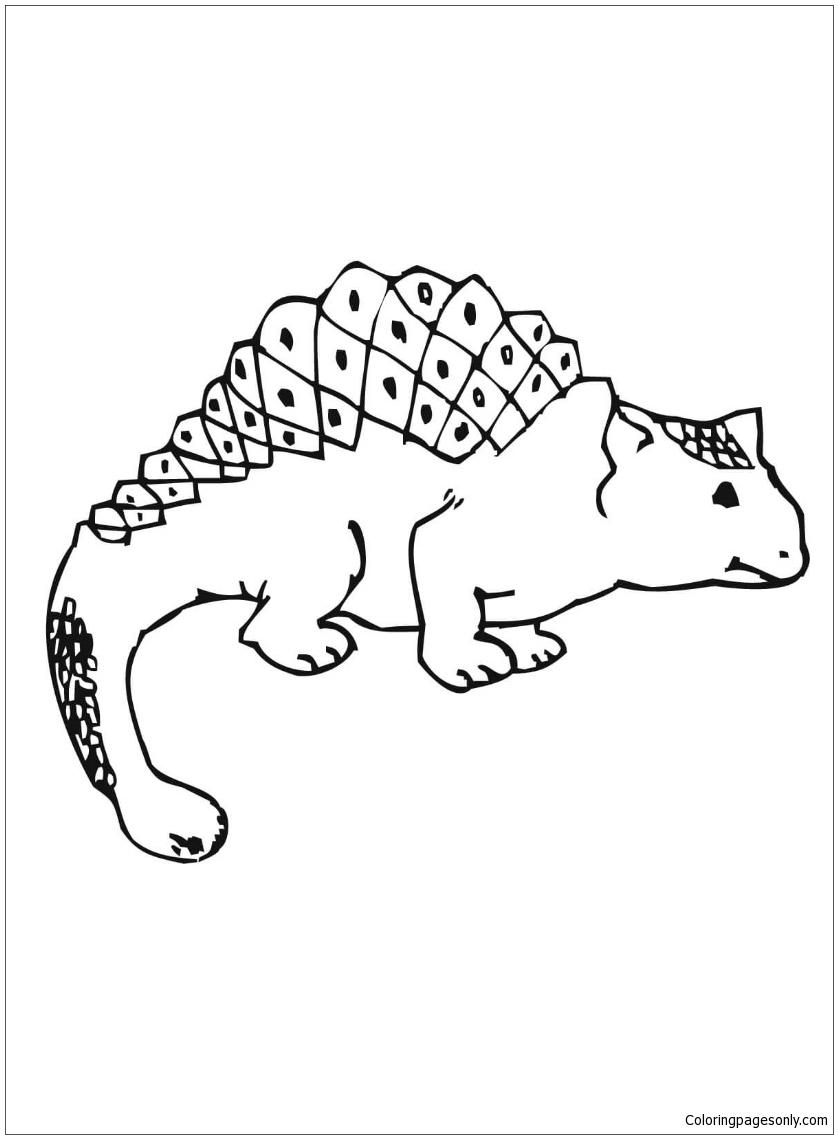Cute Ankylosaurus Coloring Page