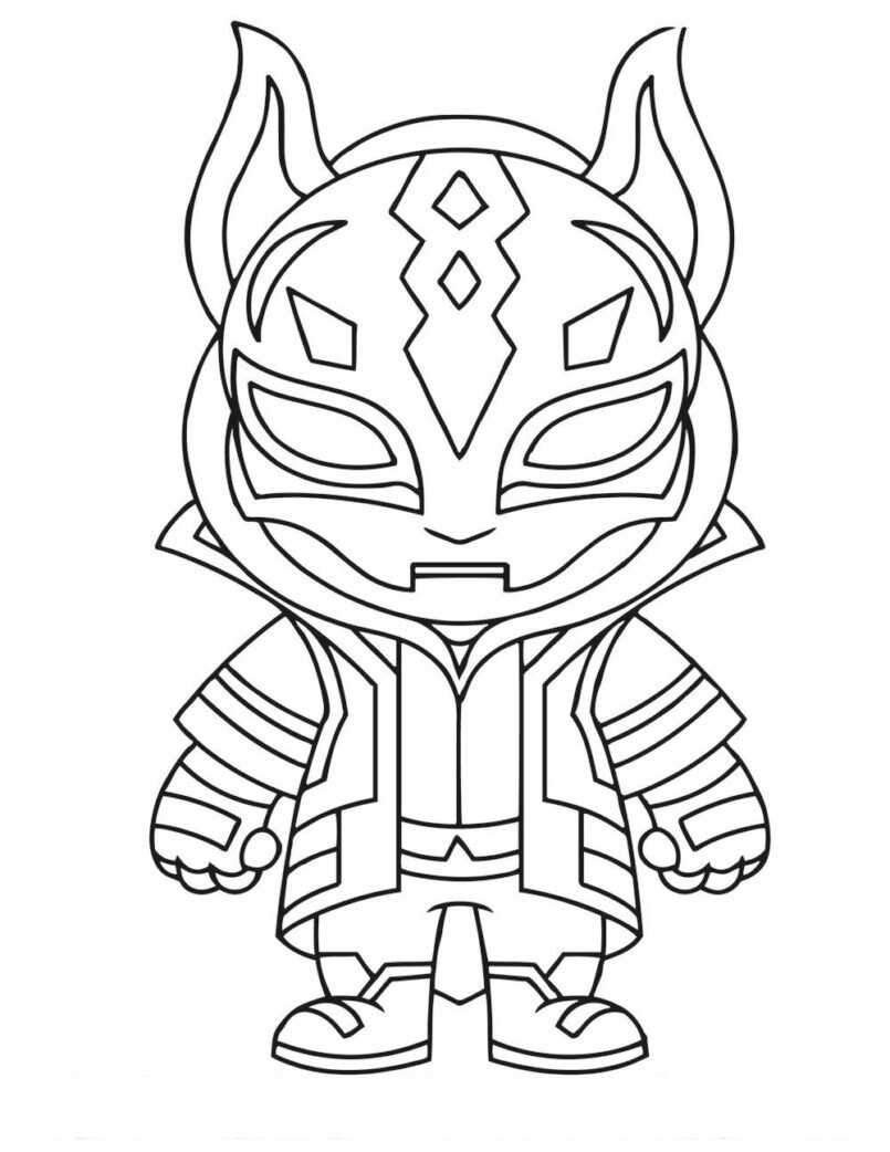 Cute Baby Drift is wearing mask Coloring Page
