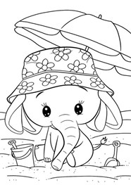 Cute Baby Elephant In Summer Coloring Page