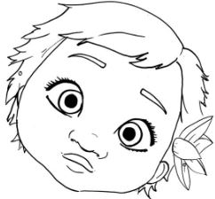 Cute Baby Moana Face Coloring Page