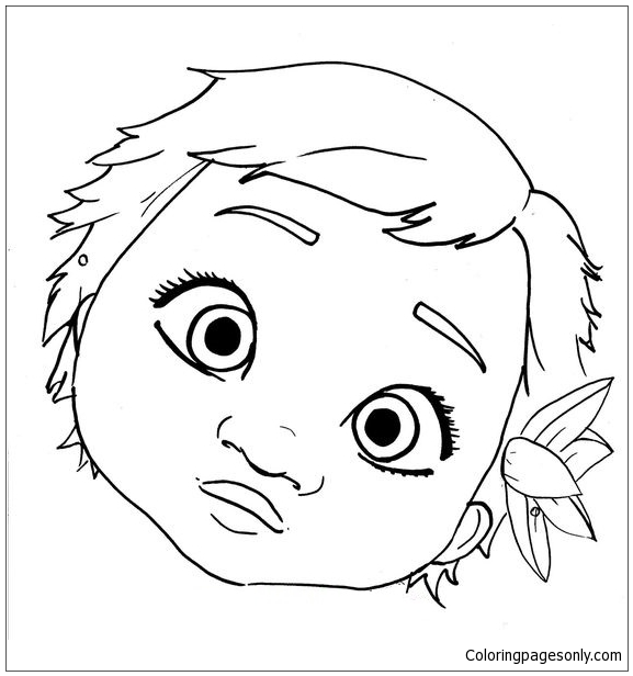 Cute Baby Moana Face Coloring Pages