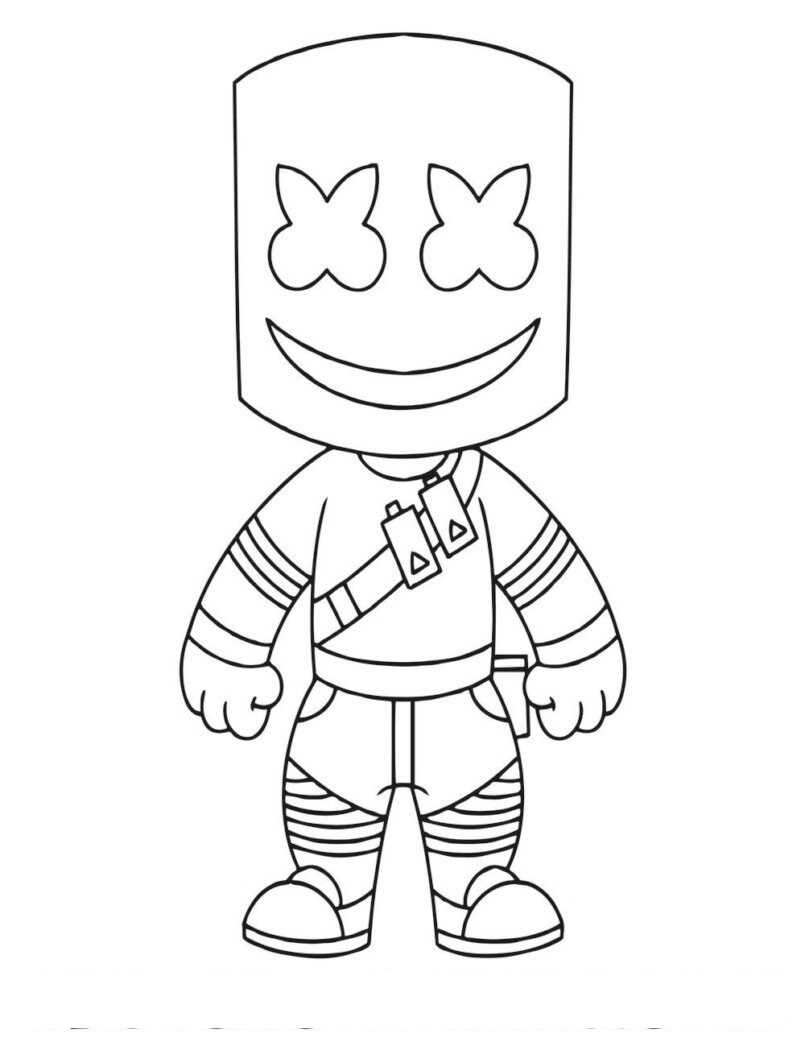 Cute Baby Smiling Marshmello in Fortnite Coloring Page