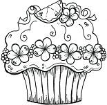 Cute Birthday Cupcake Coloring Page