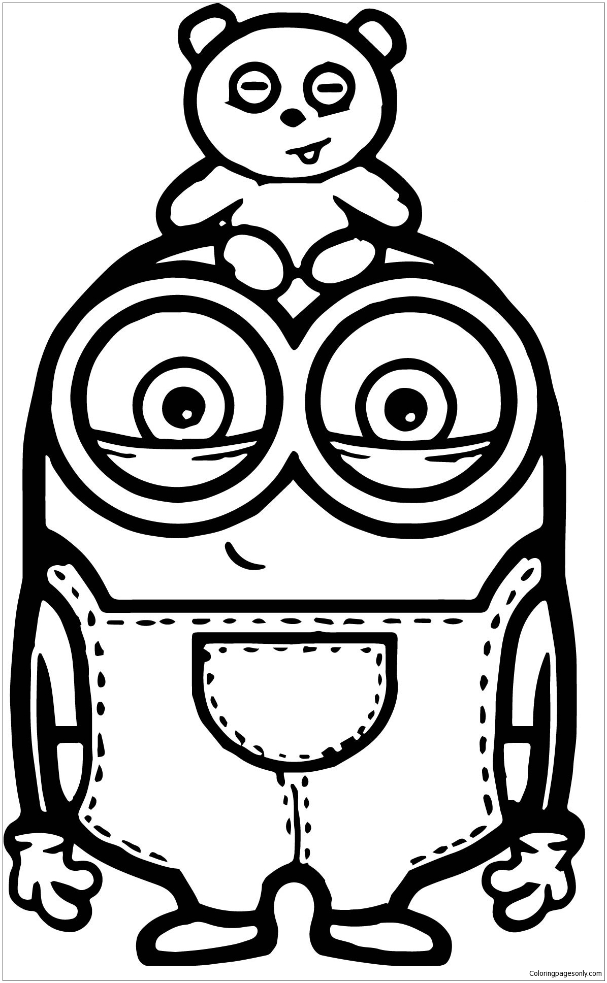 Cute Bob And Bear Minions Coloring Page Free Coloring