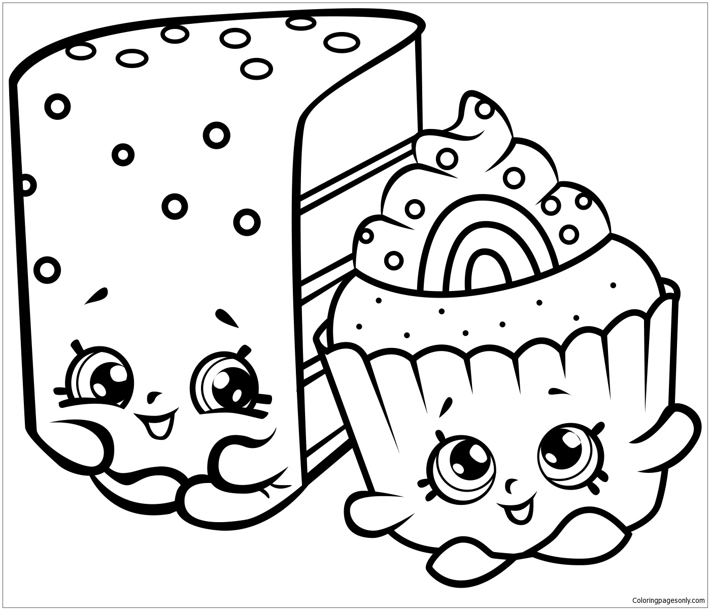 Cute Cakes Shopkins Coloring Page - Free Coloring Pages Online