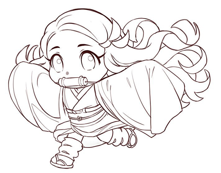 Cute Chibi Nezuko Coloring Pages