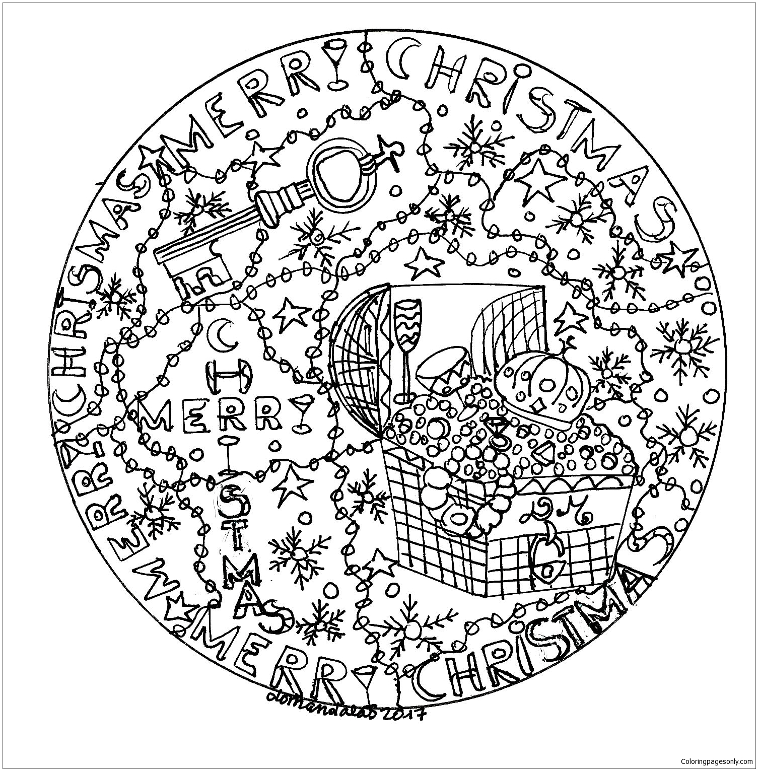 Christmas Mandala with Birds and Snowflake coloring page | Free ... | 1531x1505