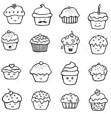 Cute CupCake Doodles Coloring Page
