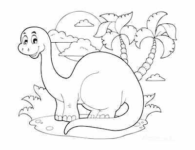 Cute Dinosaur scene for preschoolers Coloring Page