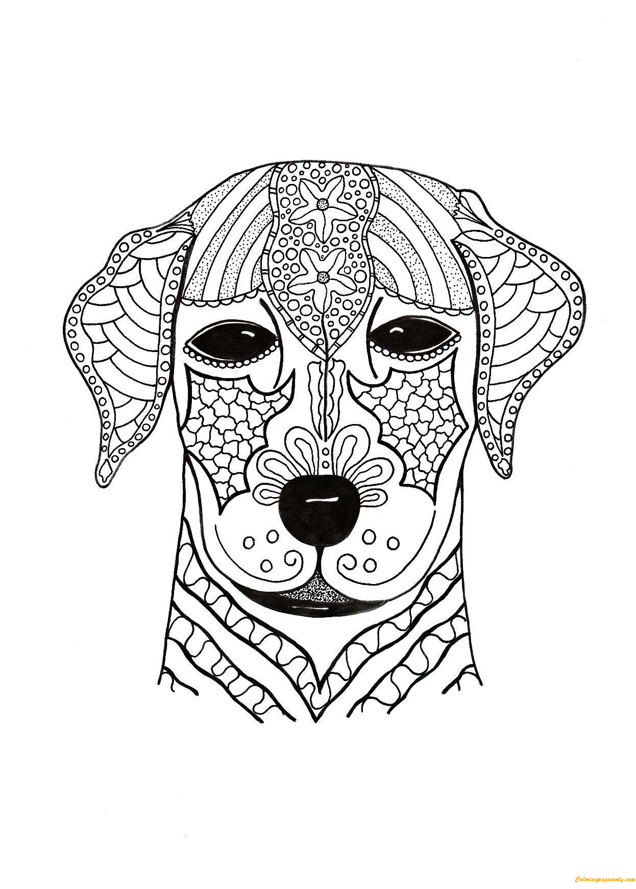 Cute Dog Face Coloring Page - Free Coloring Pages Online