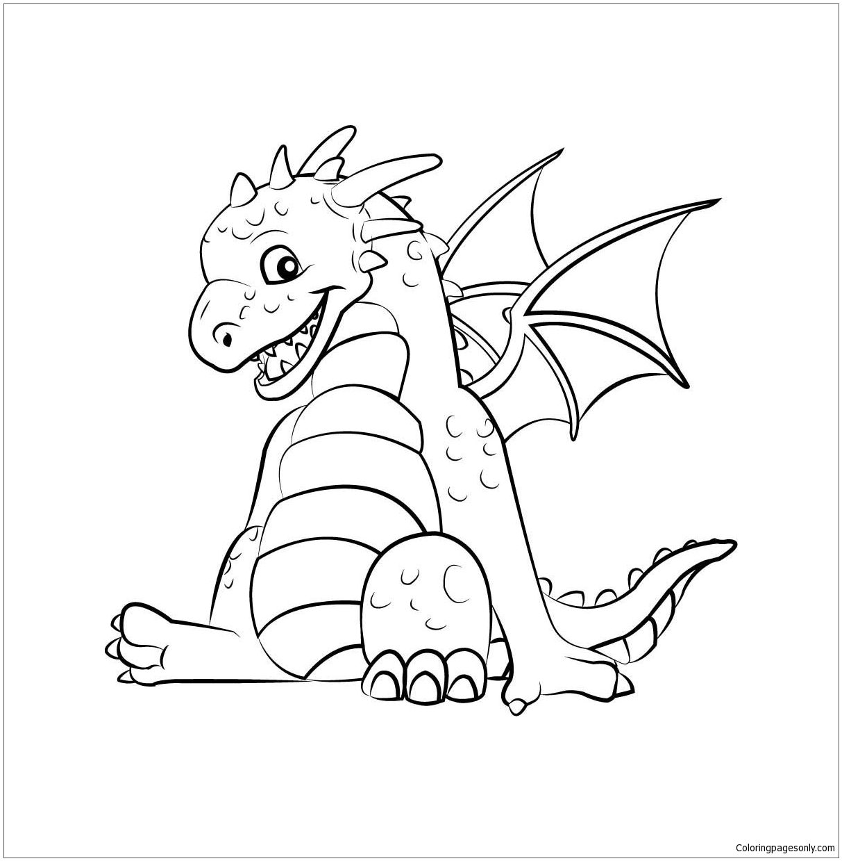 Cute Dragon 1 Coloring Page - Free Coloring Pages Online