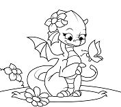Cute Dragon 2 Coloring Page