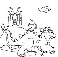 Cute Dragon in Front of a Castle