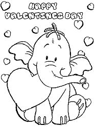 Cute Elephant Valentine s Day Coloring Page