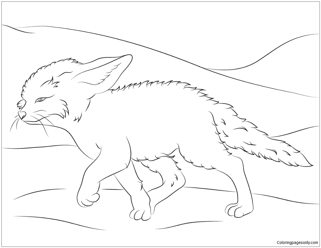 Cute Fennec Fox Walks Coloring Page - Free Coloring Pages ...