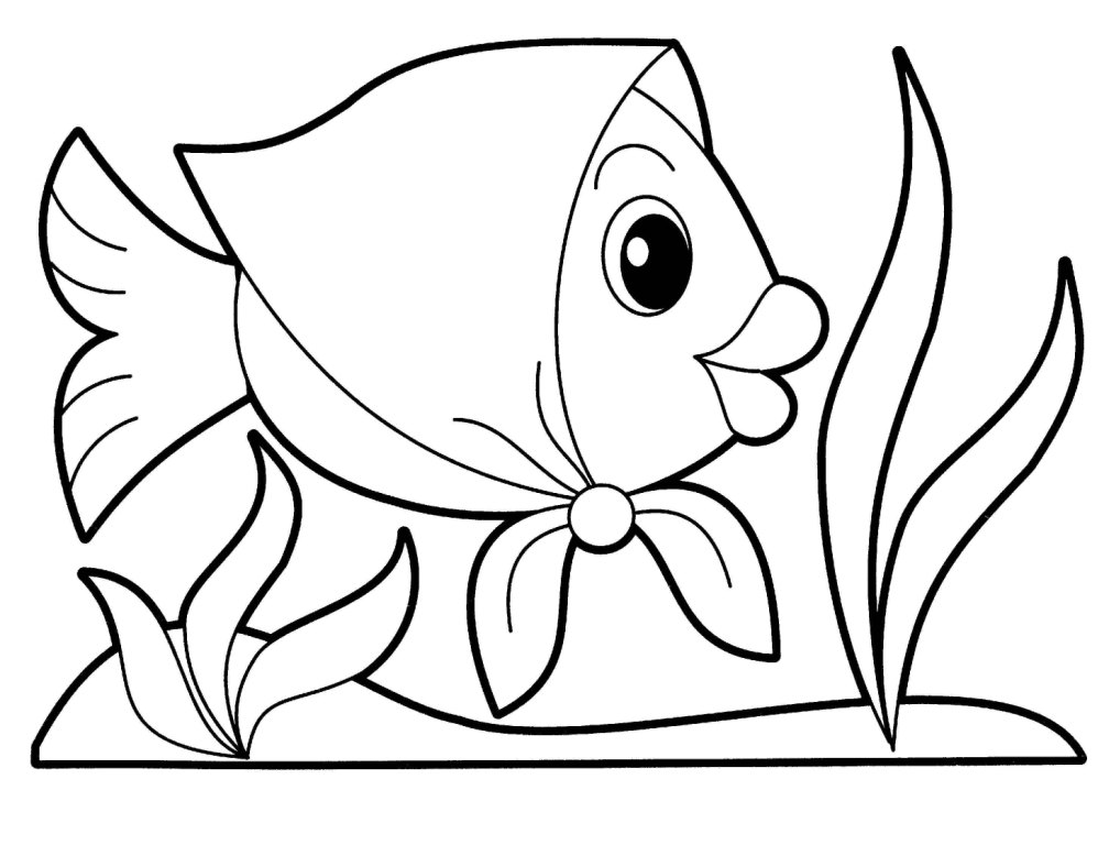 Cute Fish Wearing Square Scarves Coloring Page