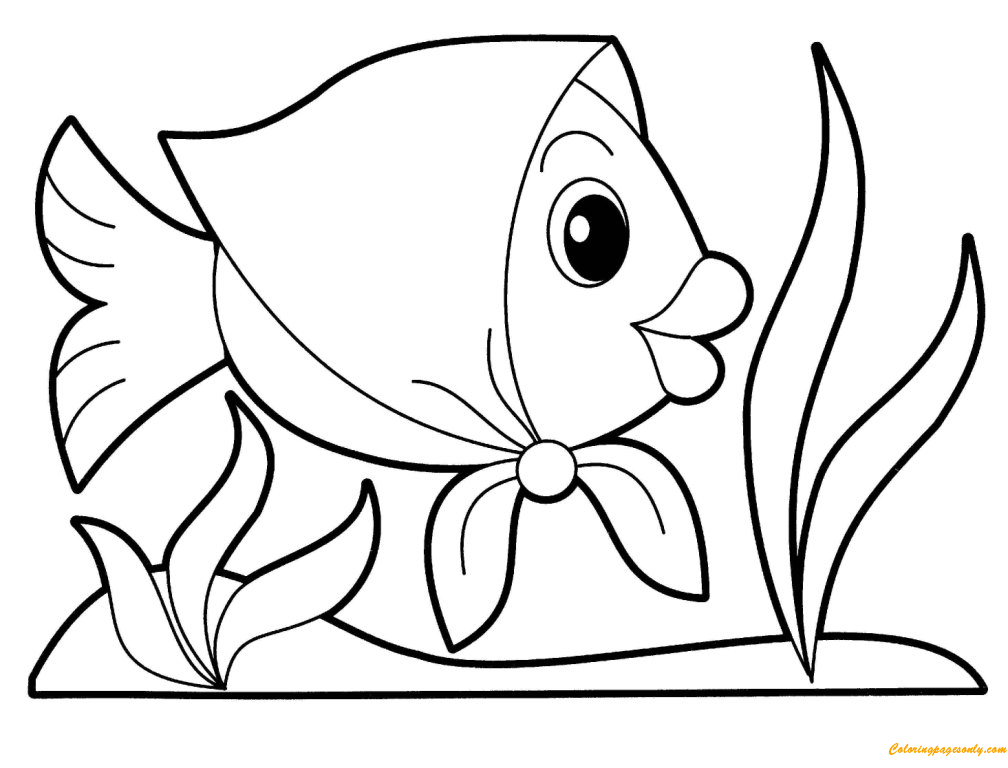 Cute Fish Wearing Square Scarves Coloring Pages