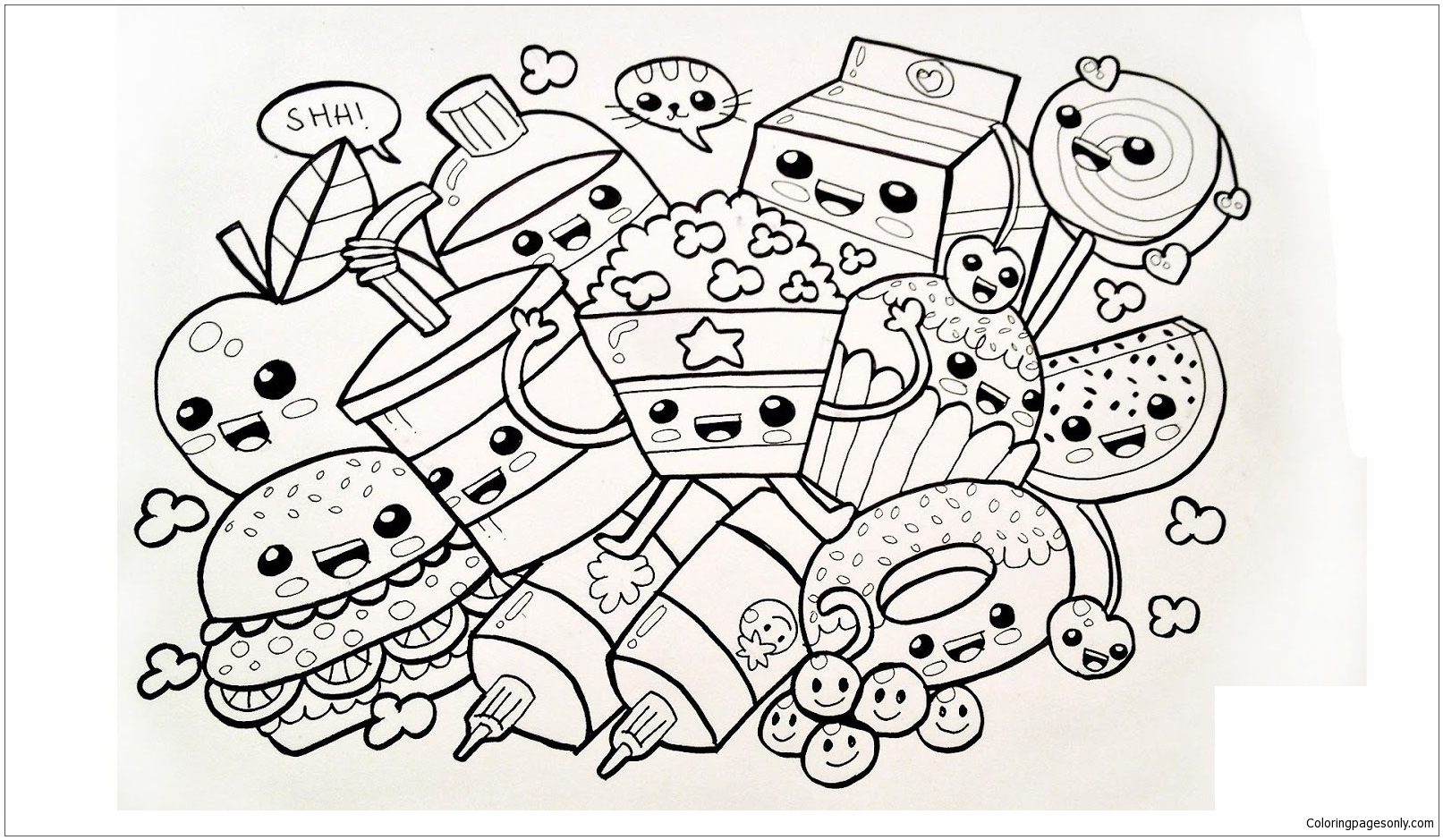 Cute Food Coloring Page - Free Coloring Pages Online