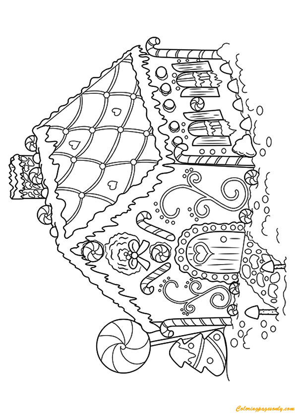 Cute Gingerbread House Coloring Page - Free Coloring Pages Online