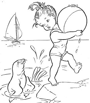 Cute Girl in a Beach Coloring Page