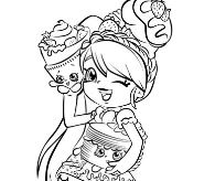 Cute Girl Shopkins Shoppies Coloring Page