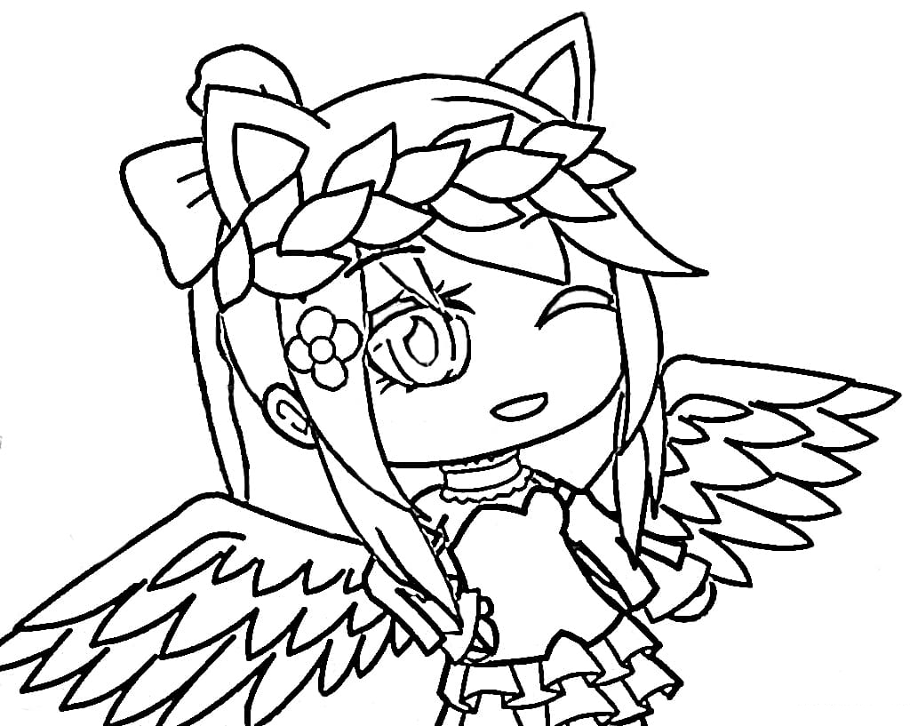 Cute Girl with two wings Coloring Page