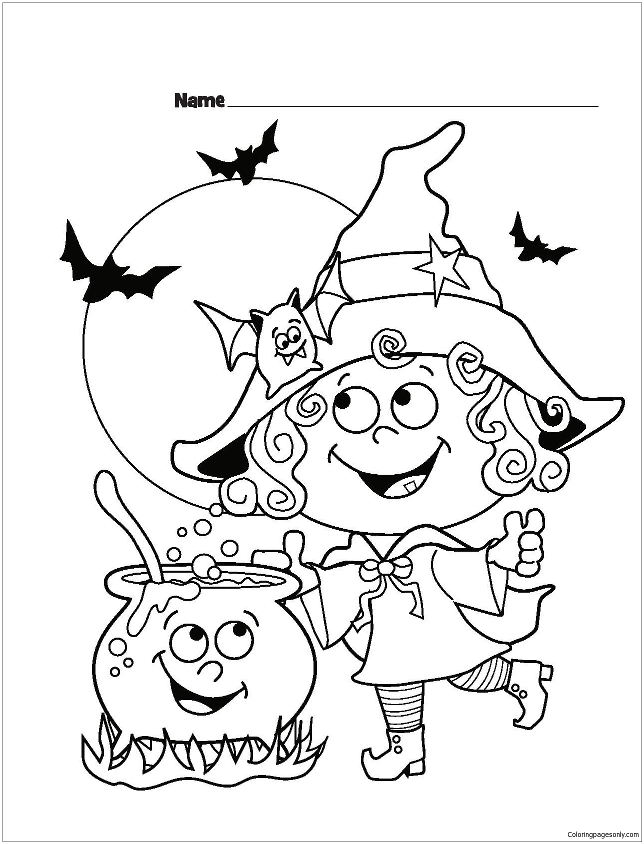 Cute Halloween Coloring Page - Free Coloring Pages Online