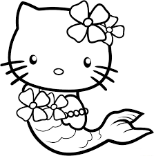 Cute Hello Kitty As A Mermaid Coloring Page