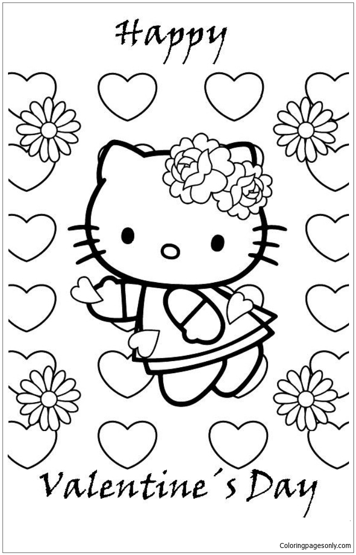 Cute Hello Kitty Happy Valentines Day Coloring Page - Free ...