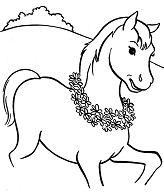 Cute Horse Colt Walking Coloring Page