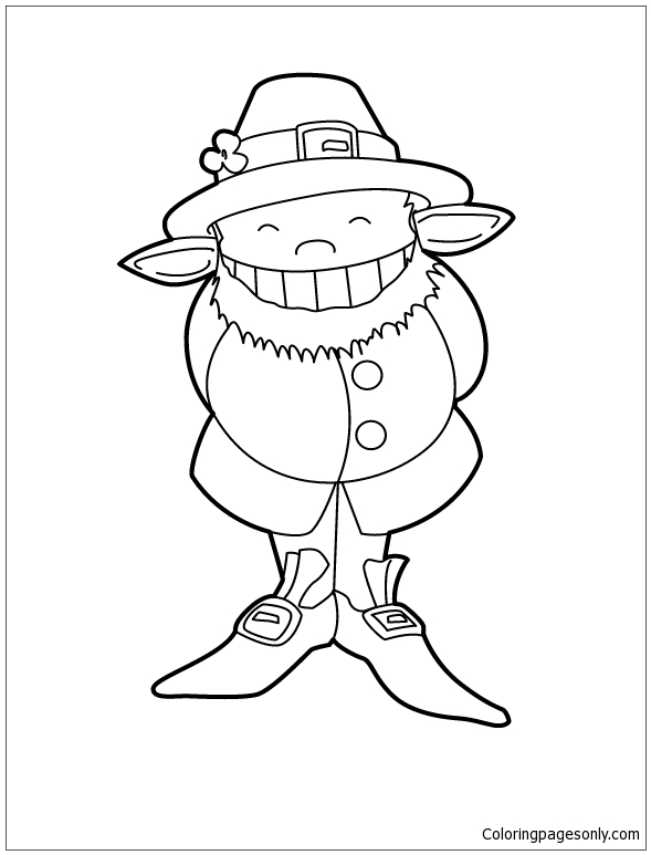 Cute Leprechaun Coloring Page - Free Coloring Pages Online