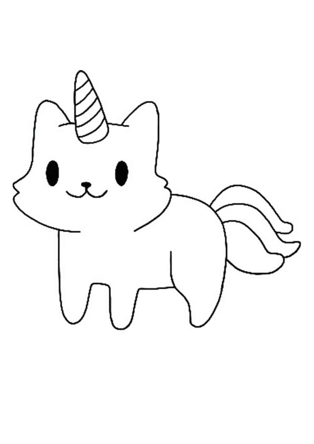 Cute Little Cat Unicorn Coloring Pages