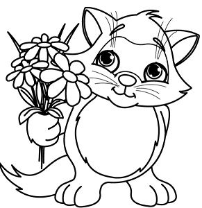 Cute Little Cat With Spring Flower Coloring Page