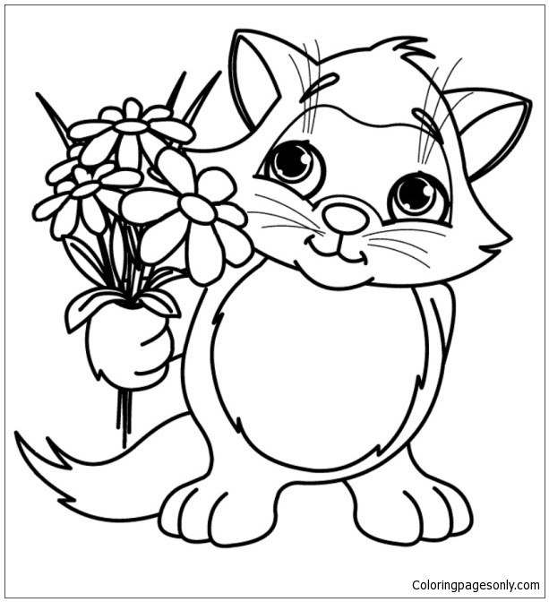 Free printable animal coloring page of kitten | Hayvan boyama ... | 672x613