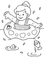 Cute Little Girl Swimming On The Beach Coloring Page
