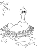 Cute Newly Hatched Chick in Nest Coloring Page