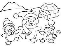 Cute Penguin Family Coloring Page