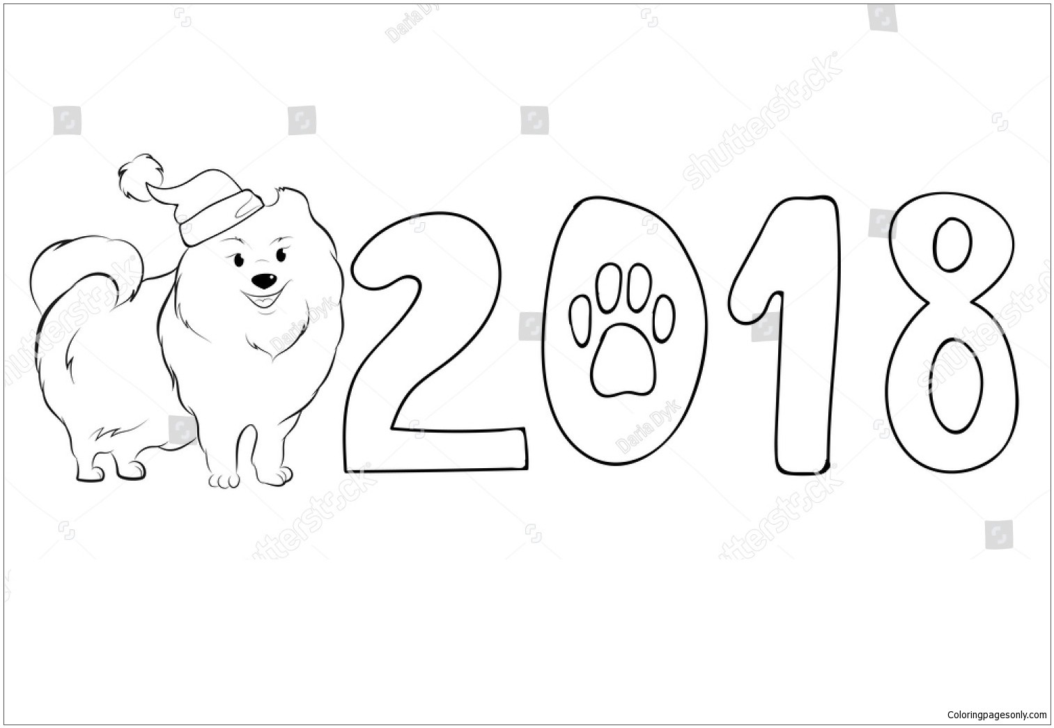 Cute Pomeranian Santa Coloring Page - Free Coloring Pages Online